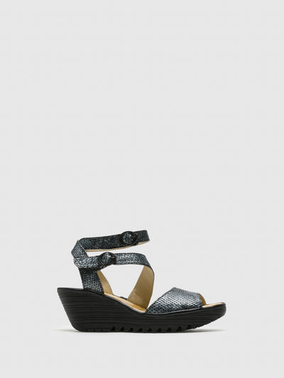 Fly London Black Leather Ankle Strap Sandals