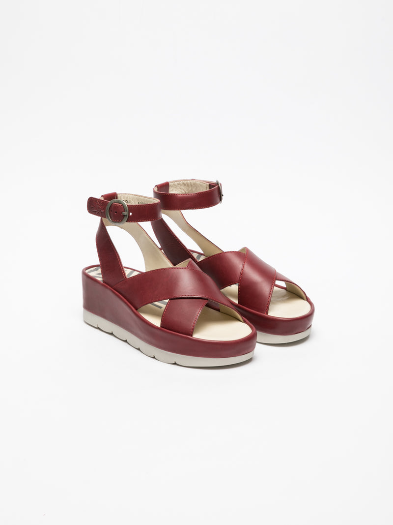 Fly London DarkRed Ankle Strap Sandals