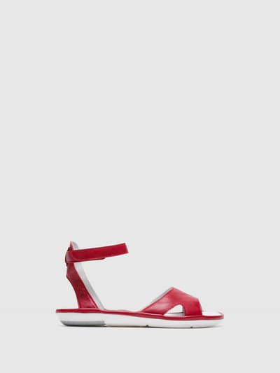 Fly London Red Ankle Strap Sandals