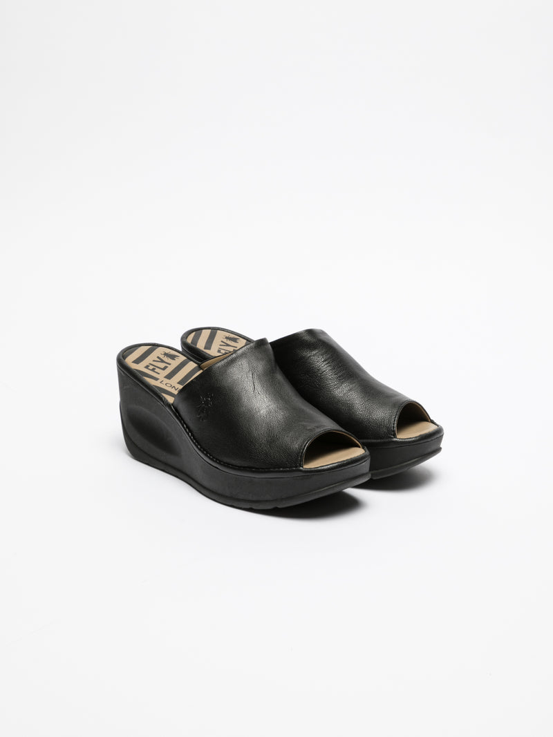 Black Wedge Mules