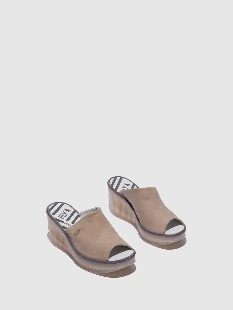 Fly London LightGray Wedge Mules