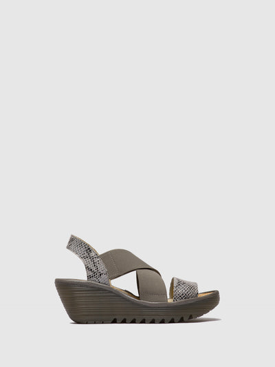 Fly London LightGray Crossover Sandals