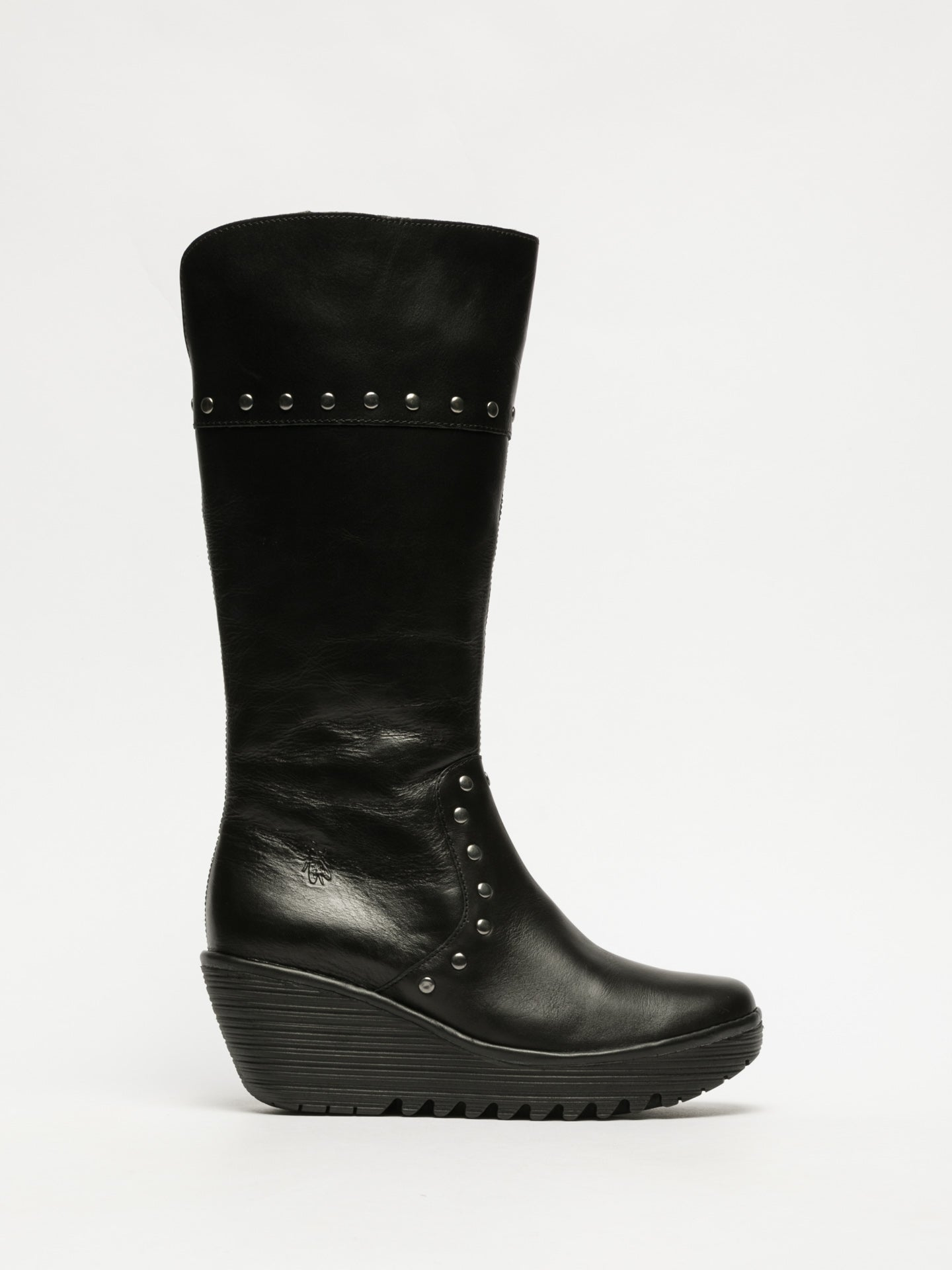 Fly London Coal Black Studded Boots
