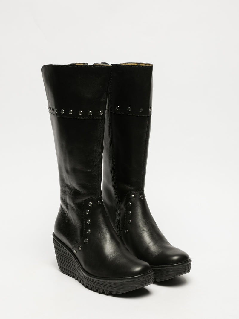 Coal Black Studded Boots