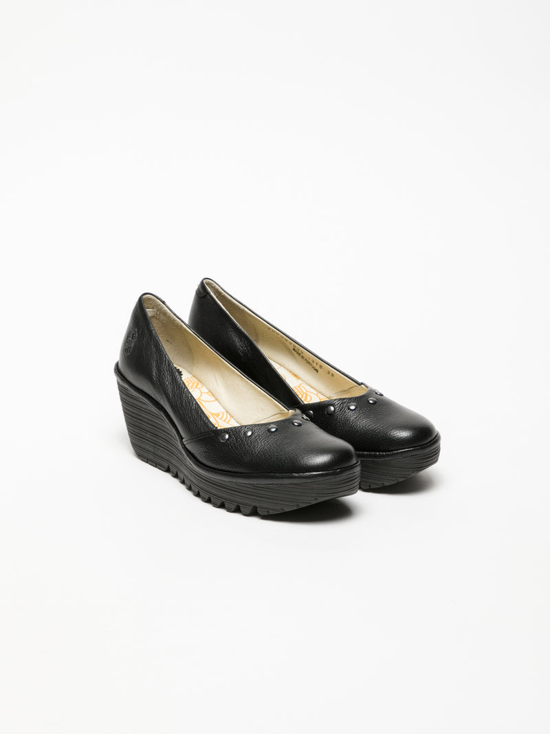 Black Wedge Ballerinas