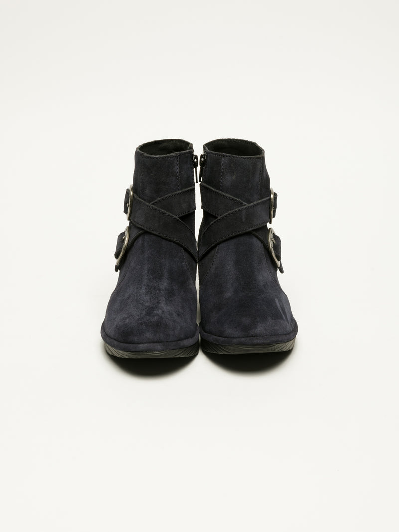 Fly London Navy Buckle Ankle Boots
