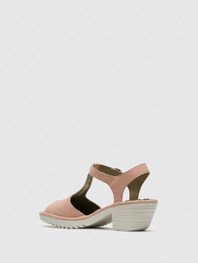 Fly London LightPink T-Strap Sandals