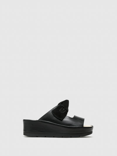 Fly London Black Platform Sandals