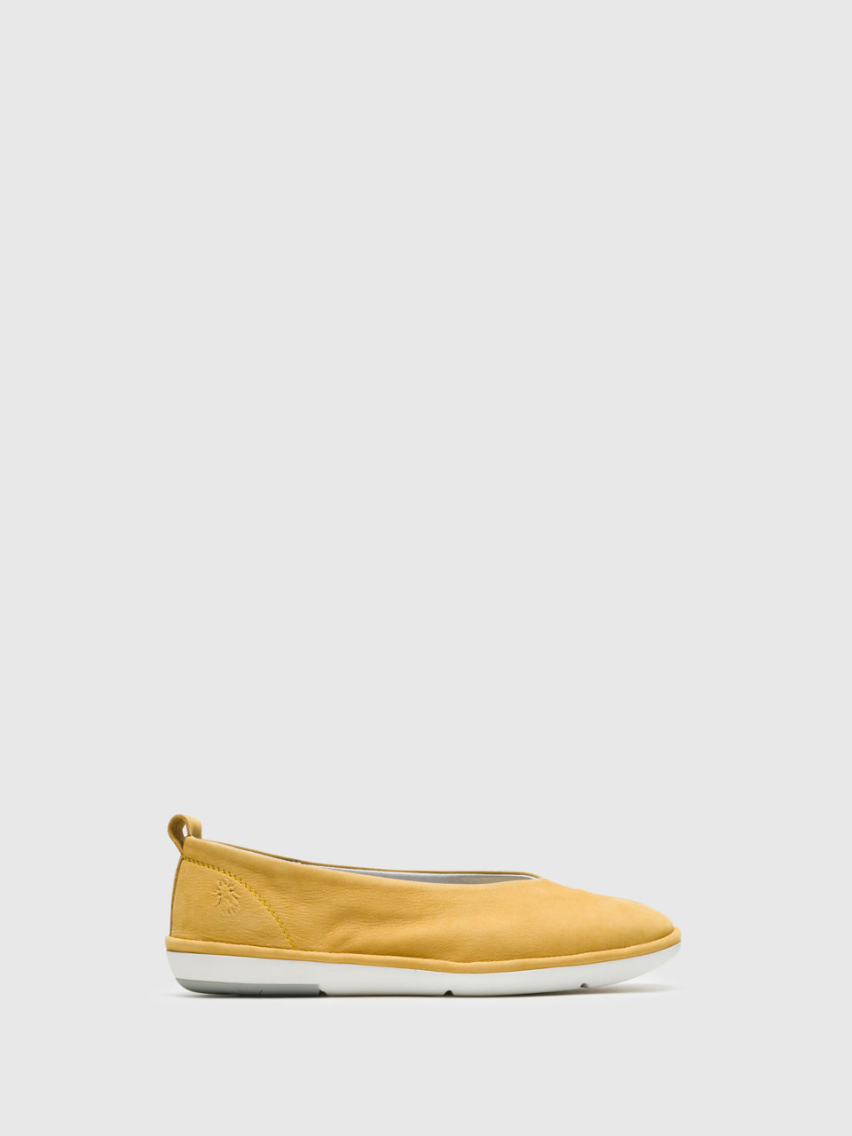 Fly London Yellow Square Toe Ballerinas