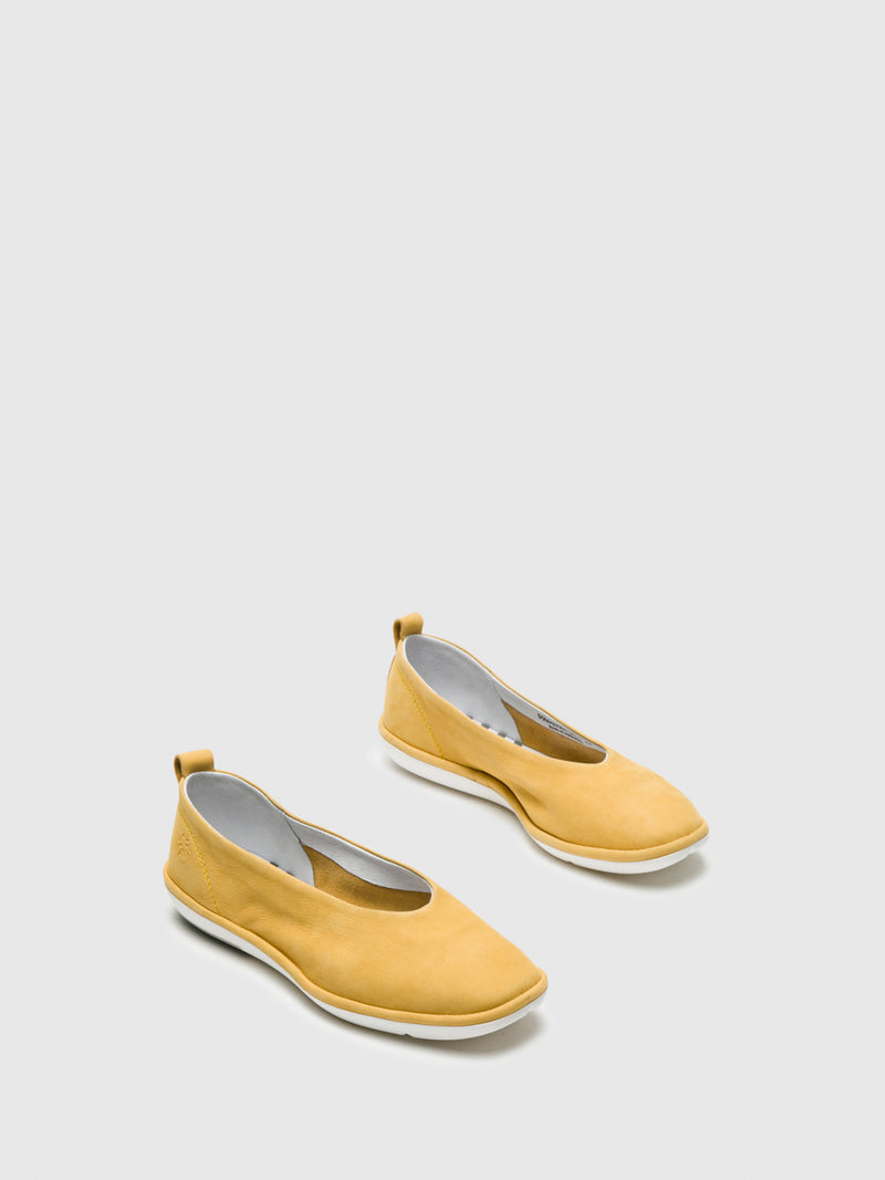Yellow Square Toe Ballerinas
