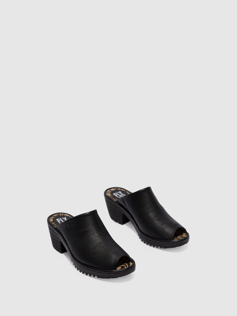 Fly London Black Leather Open Toe Mules