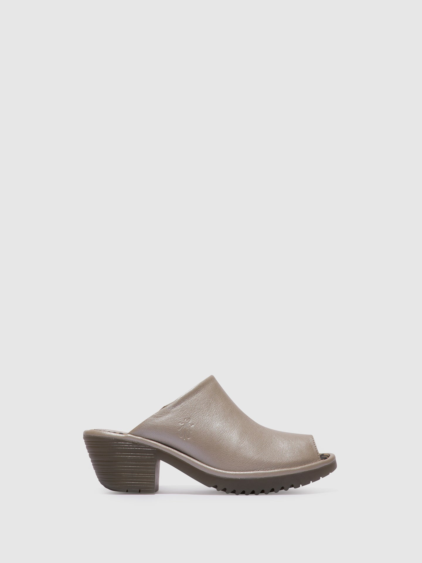 Fly London Silver Open Toe Mules