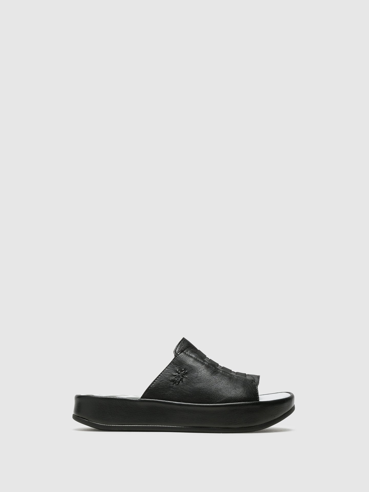 Fly London Black Platform Mules