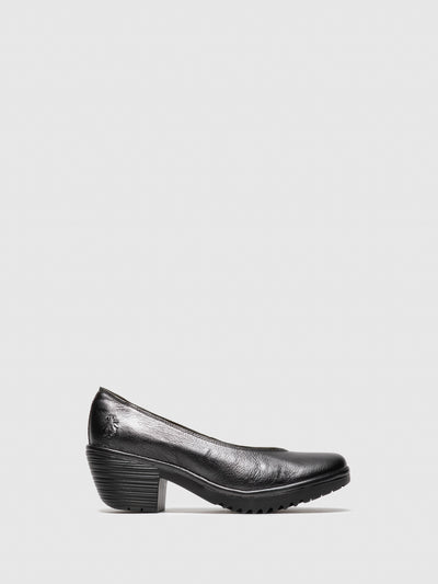 Fly London DarkGray Round Toe Pumps