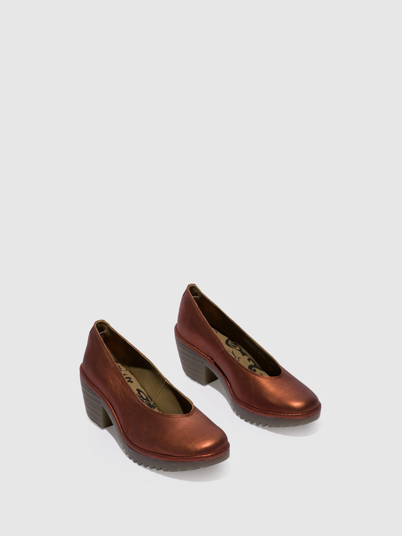 RosyBrown Round Toe Pumps