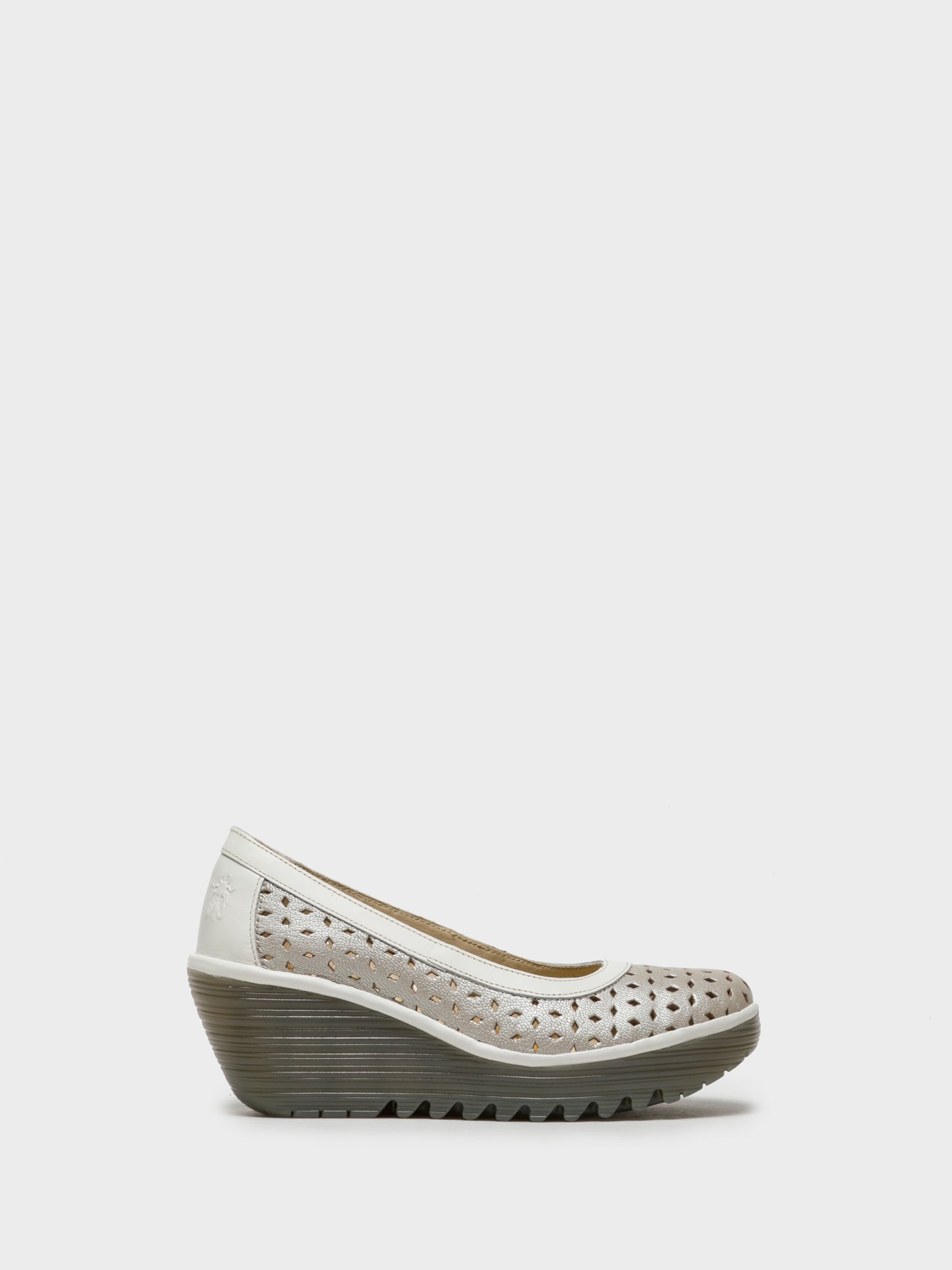 Fly London Silver Wedge Shoes