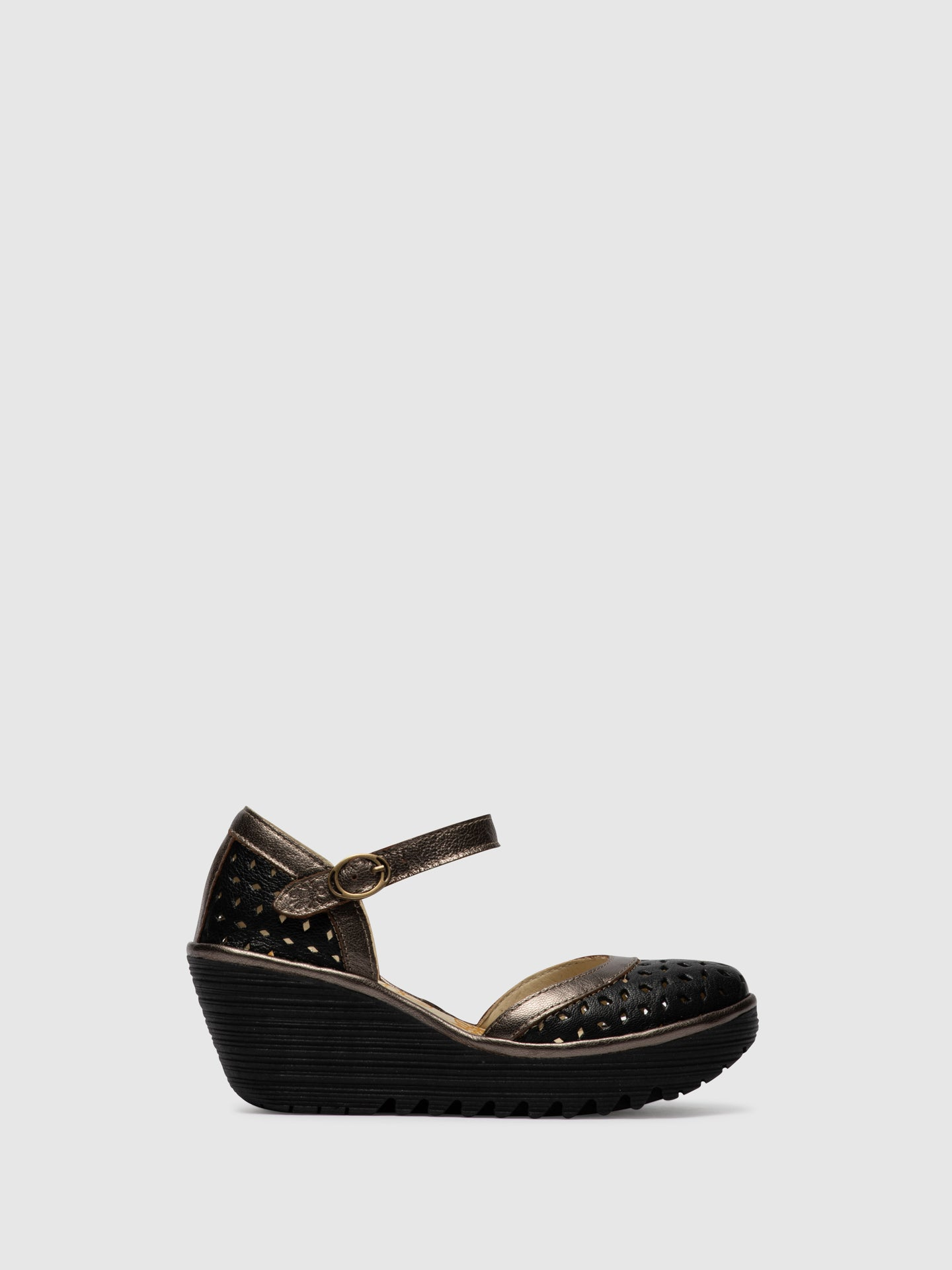 Fly London Brown Black Buckle Sandals