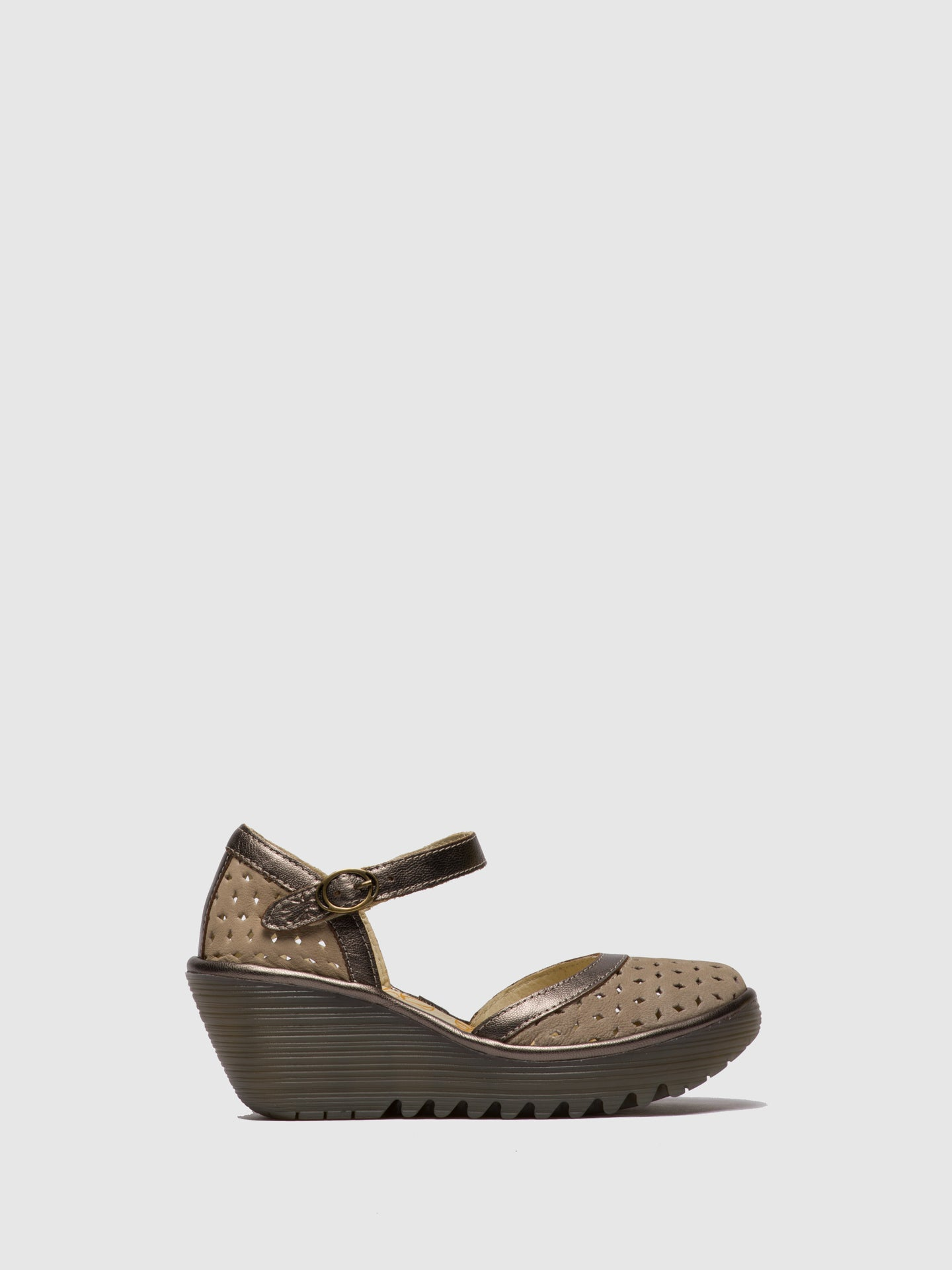 Fly London LightGray Buckle Sandals