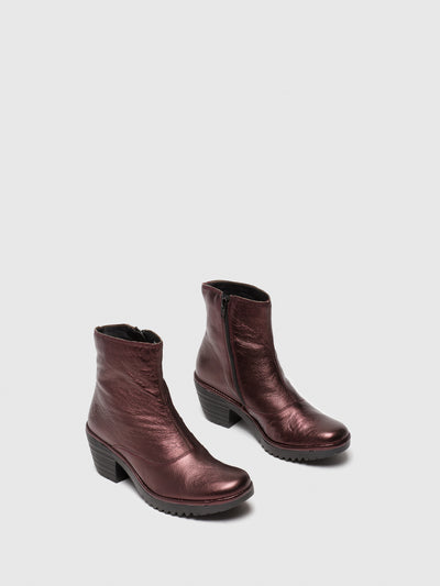 Fly London Maroon Zip Up Ankle Boots