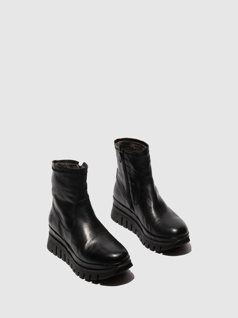 Fly London Zip Up Ankle Boots BORK060FLY VERONA BLACK