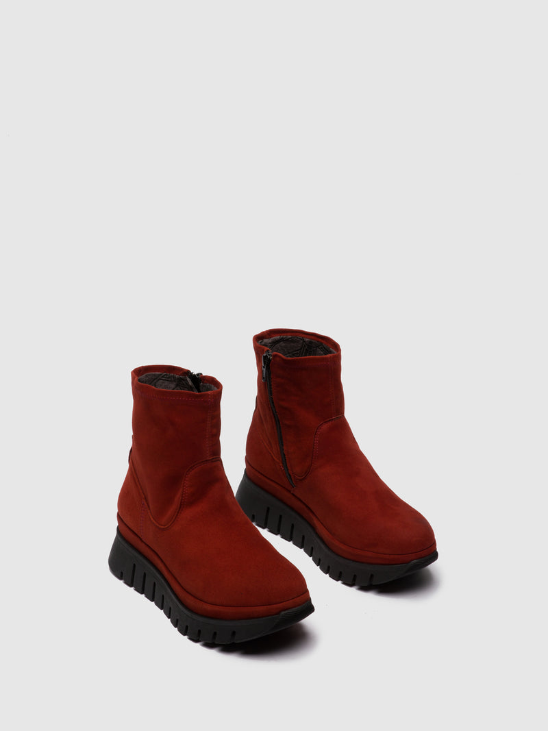 Fly London Zip Up Ankle Boots BORK060FLY SILKY RED