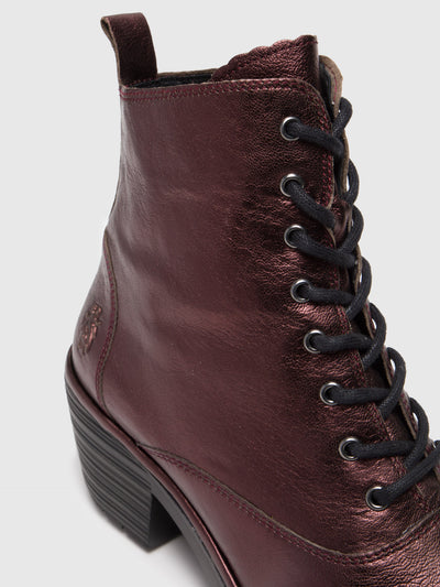 Fly London Maroon Lace-up Ankle Boots