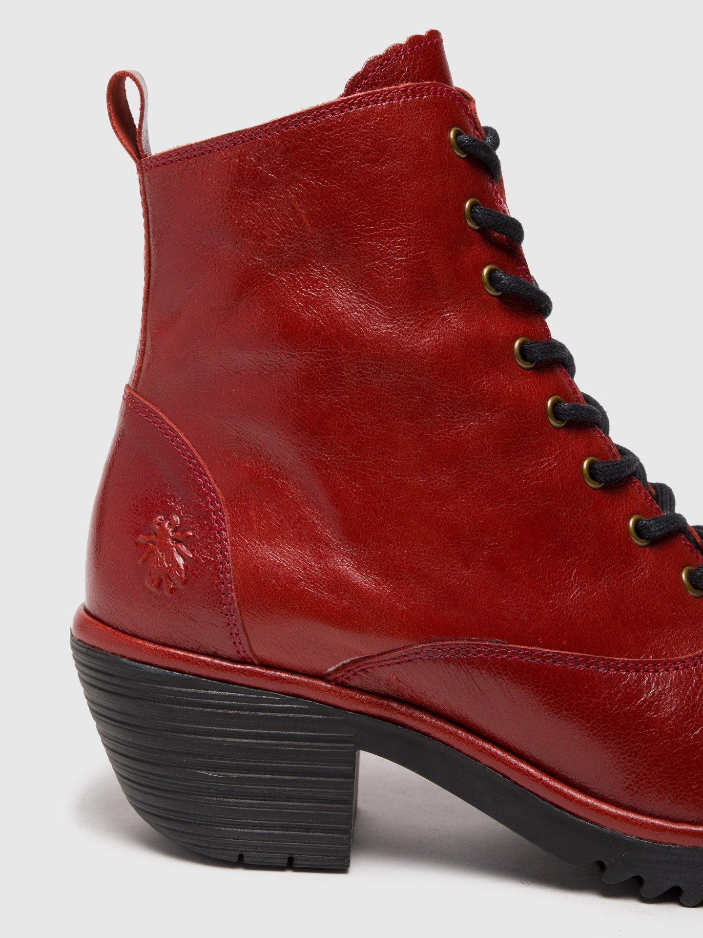 Red Lace-up Ankle Boots - Overcube