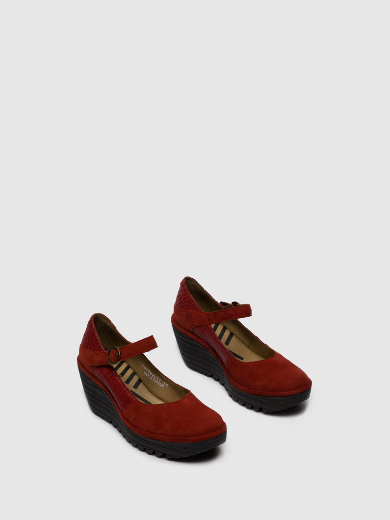 Fly London Mary Jane Shoes YUKO082FLY SILKY/CROCO RED