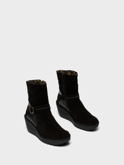 Fly London Black Zip Up Ankle Boots