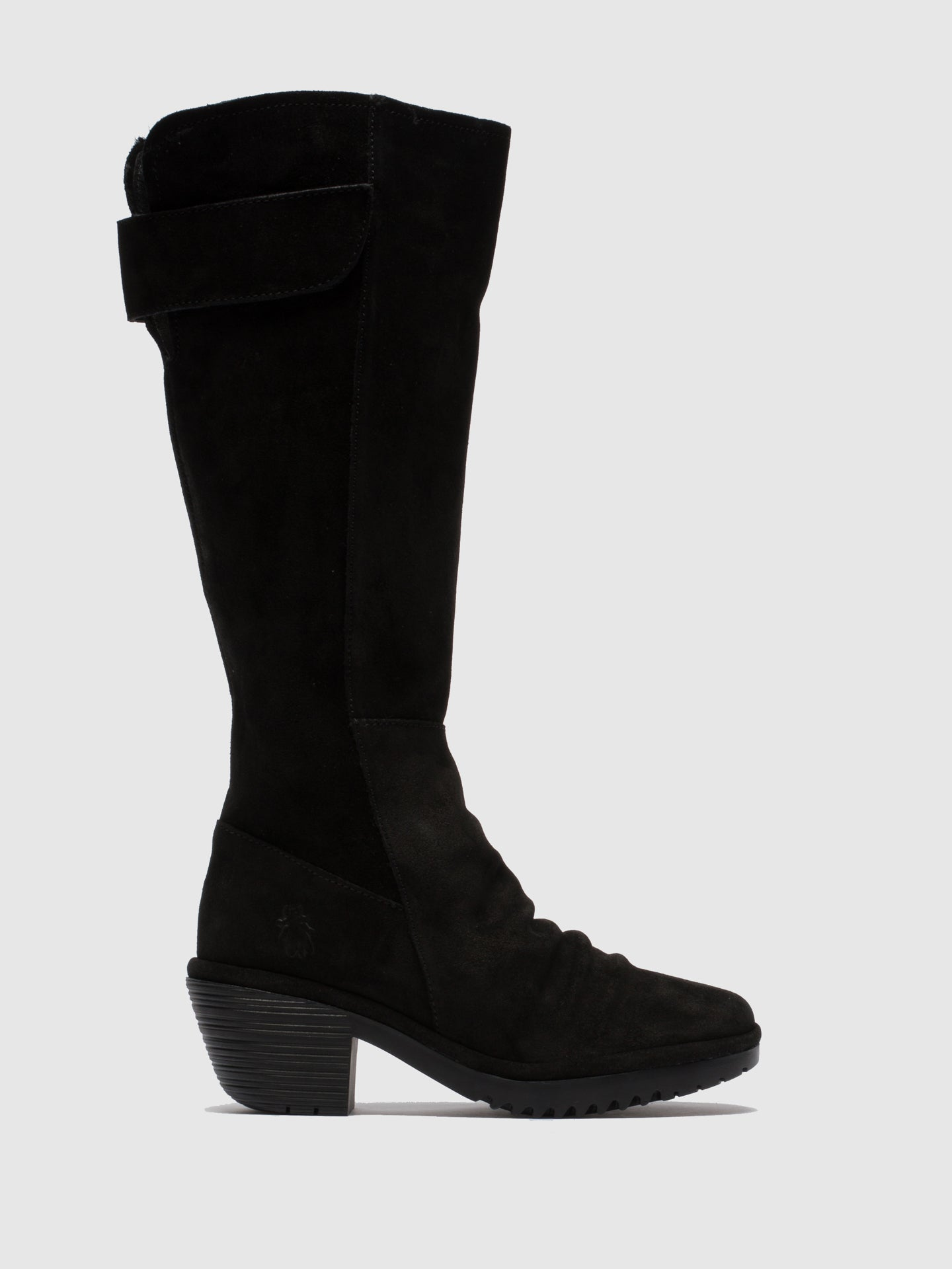 Fly London Black Suede Zip Up Boots