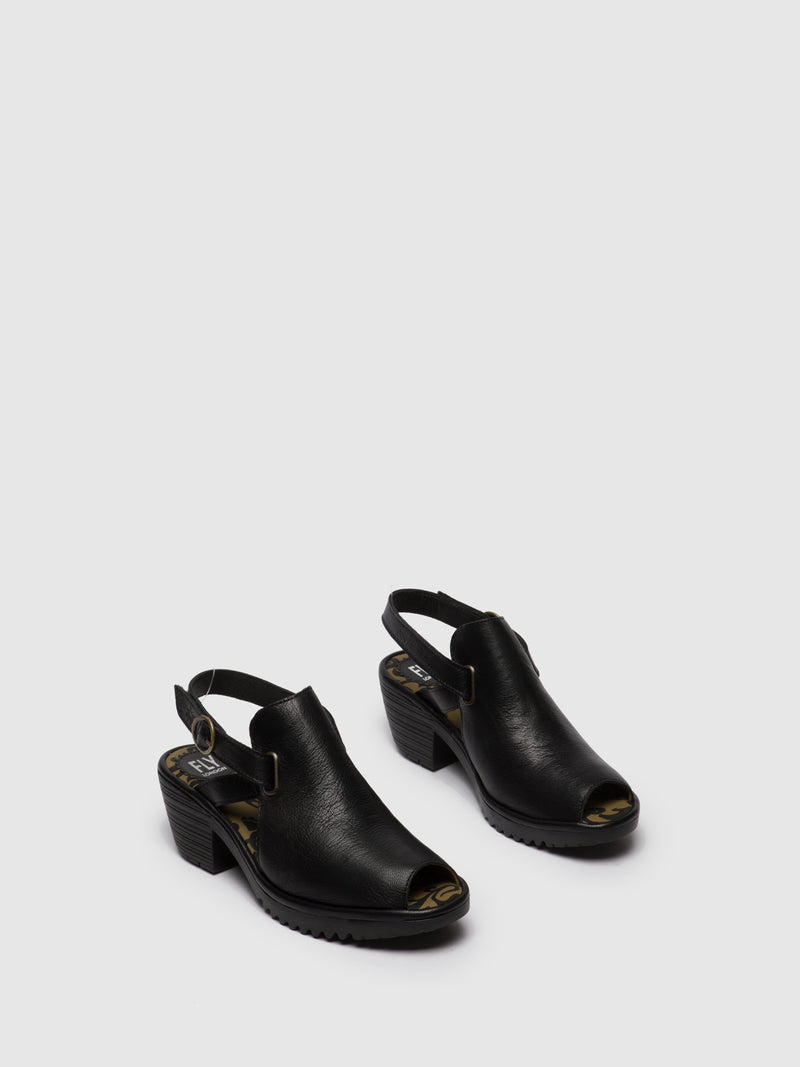 Black Leather Velcro Sandals