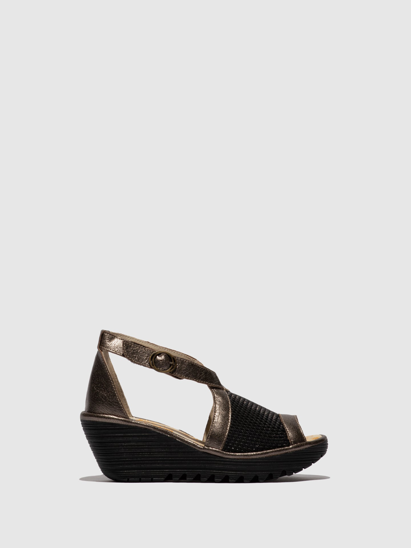 Fly London Brown Black Crossover Sandals