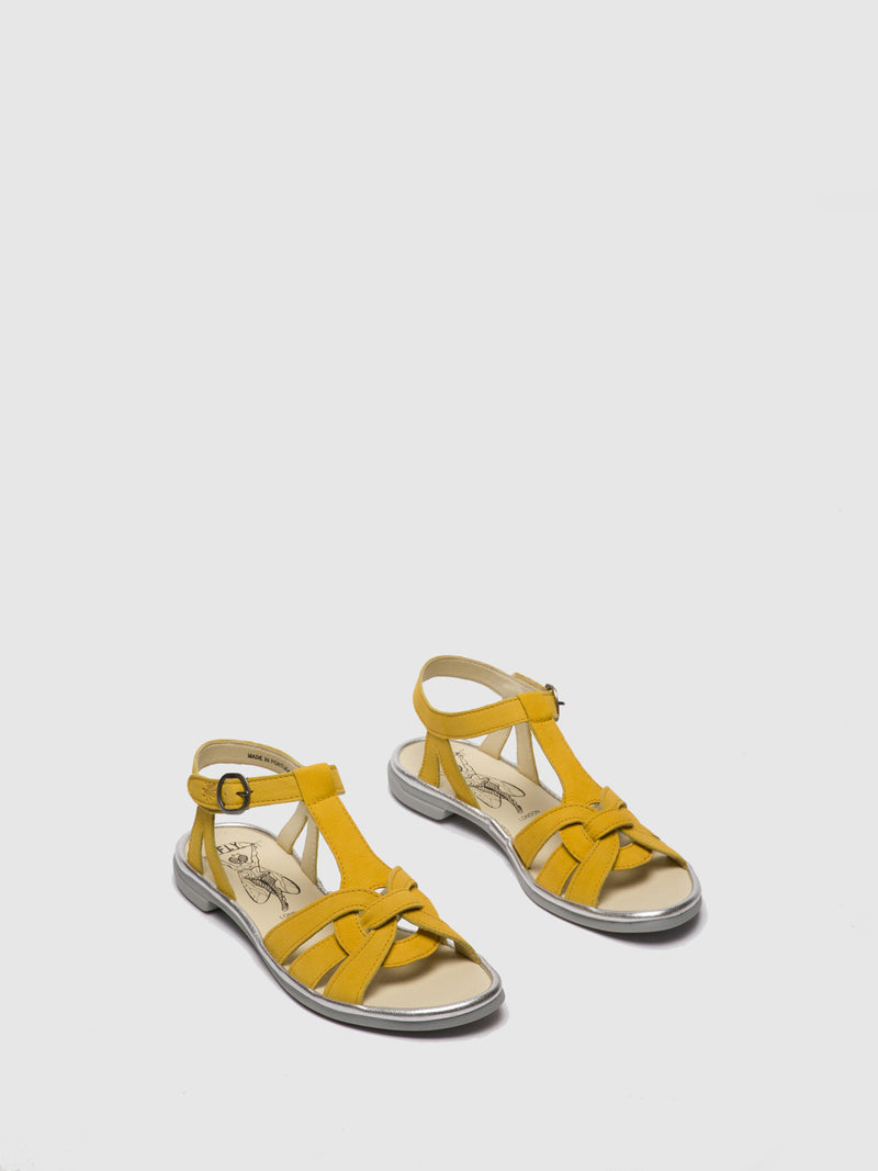 Yellow T-Strap Sandals