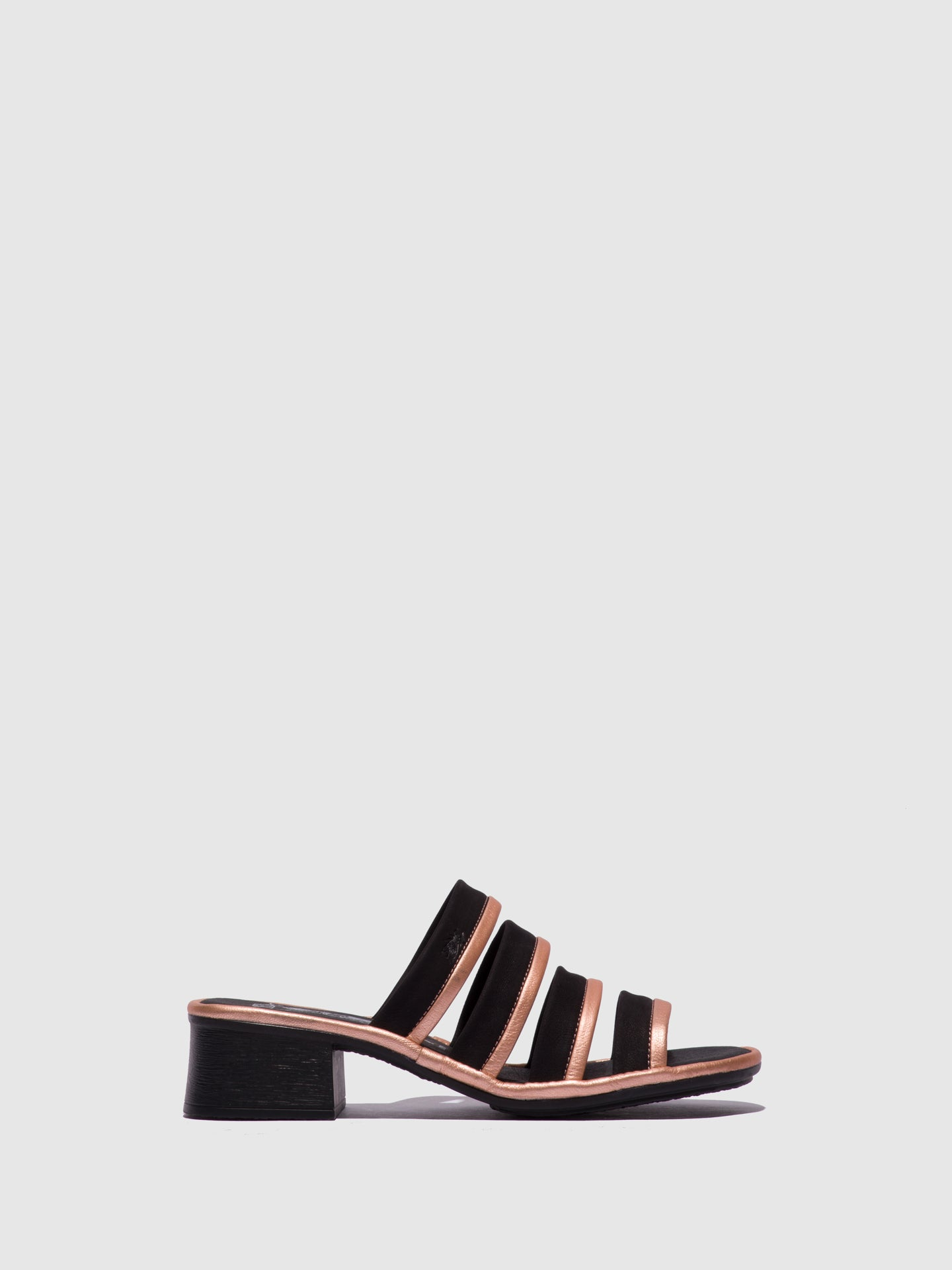 Fly London RoseGold Open Toe Mules