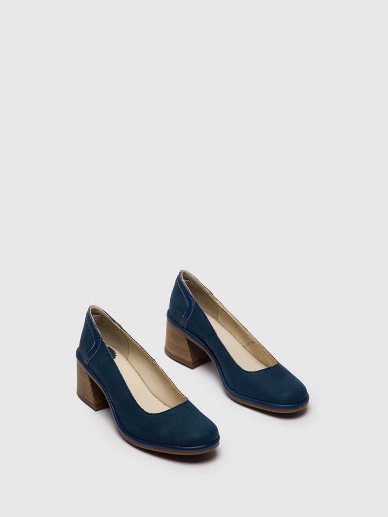 Blue Chunky Heel Shoes