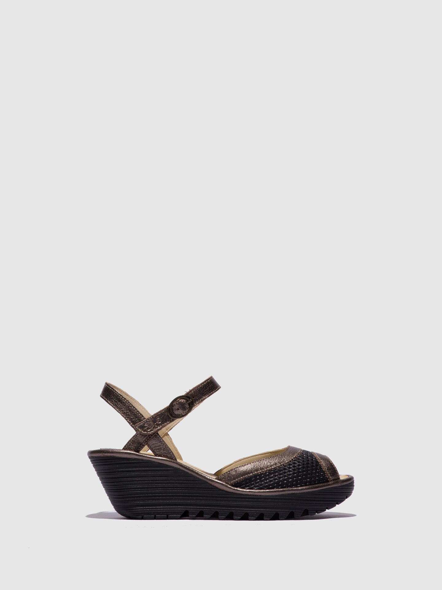 Fly London Brown Black Open Toe Sandals
