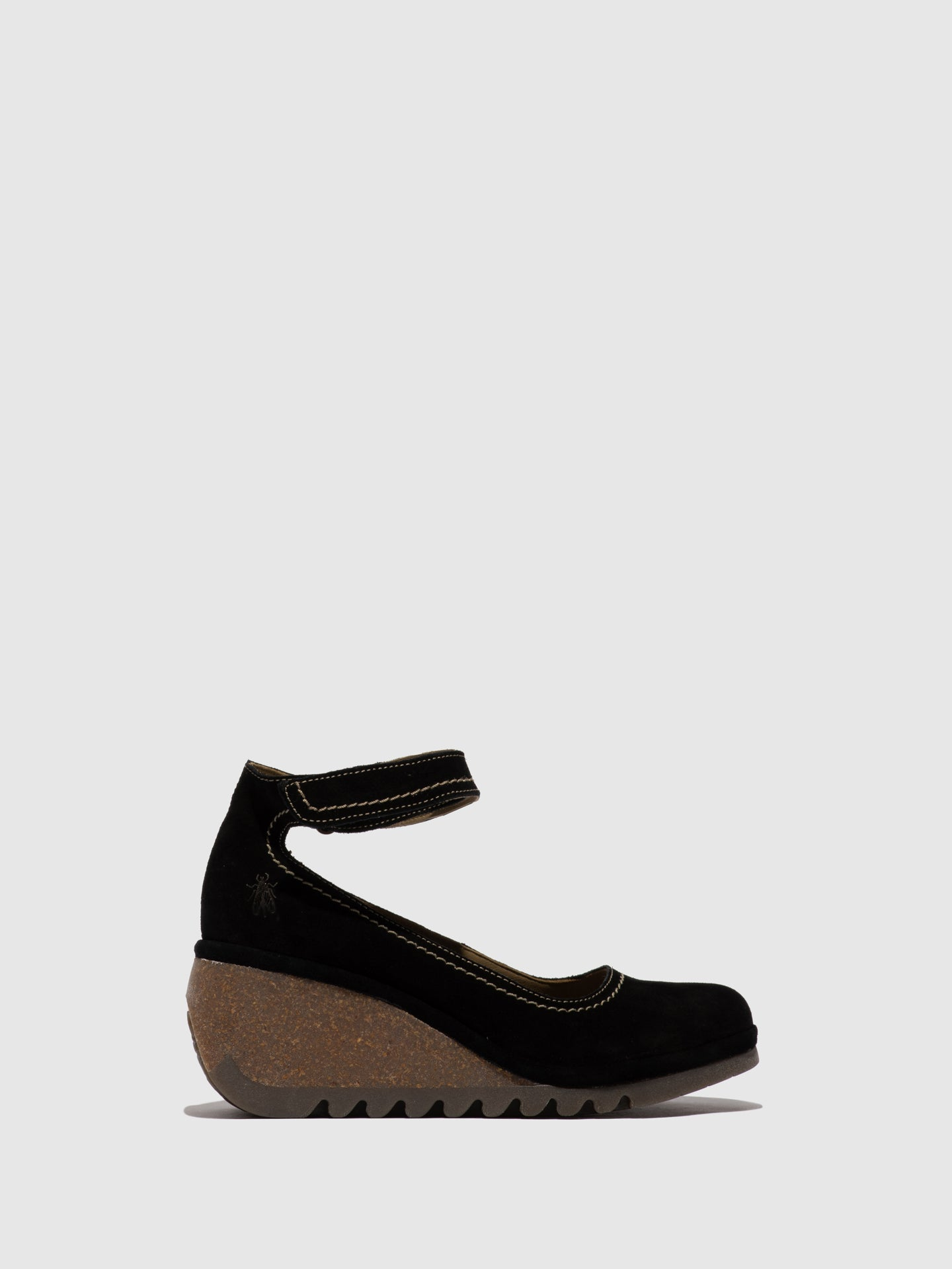 Fly London Black Suede Wedge Shoes