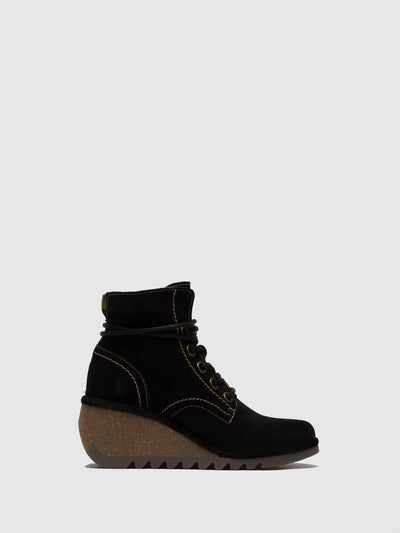 Fly London Black Suede Lace-up Ankle Boots