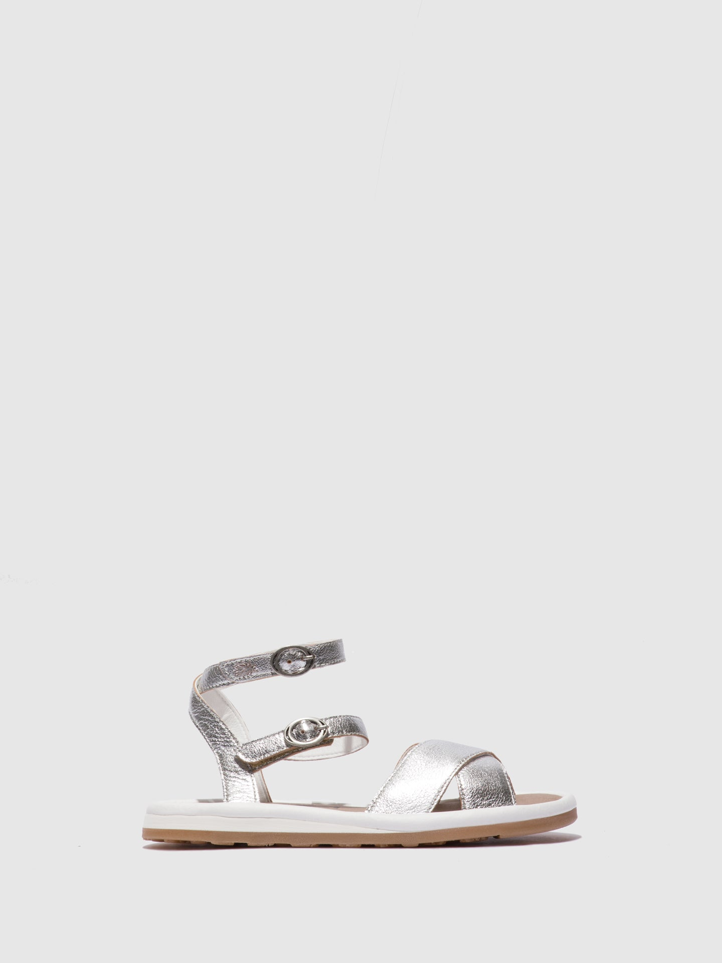 Fly London Ankle Strap Sandals FUGO201FLY SILVER