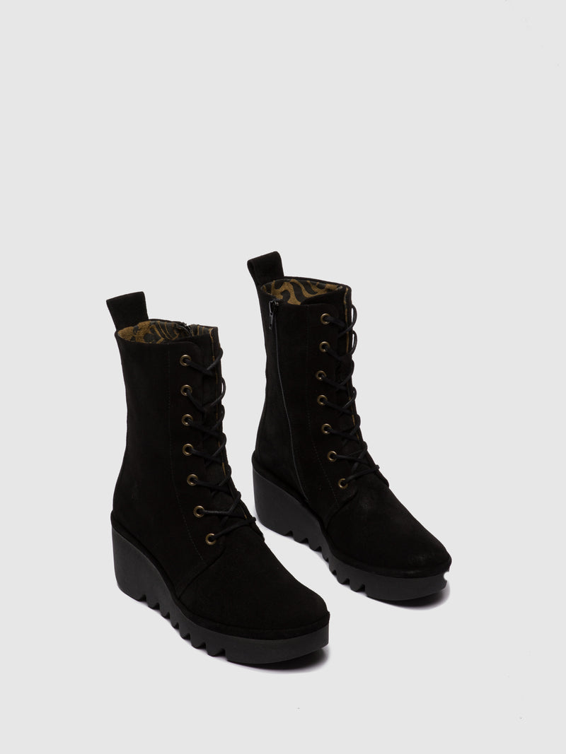Lace-up Ankle Boots BIRD241FLY OILSUEDE & BLACK