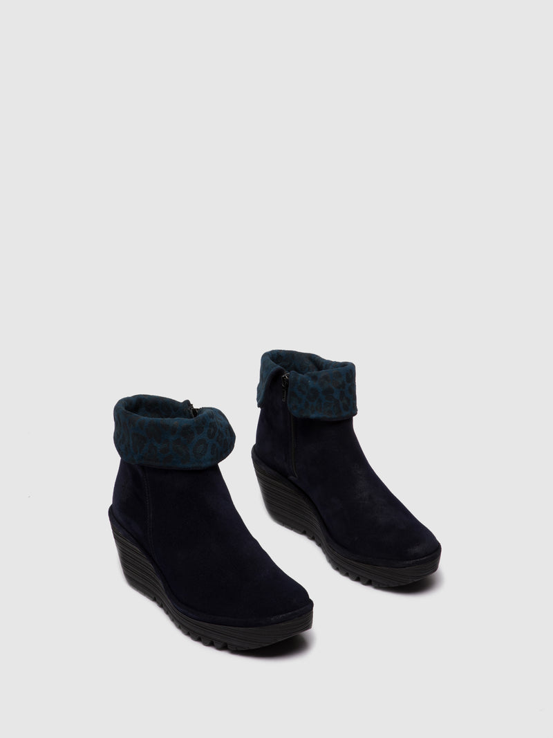Fly London Zip Up Ankle Boots YETY248FLY OILSUEDE/CHEETAH NAVY/NAVY