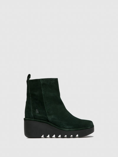 Fly London Zip Up Ankle Boots BALE250FLY OILSUEDE GREEN FOREST