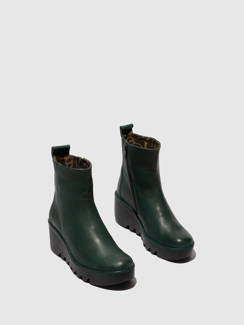 Fly London Zip Up Ankle Boots BALE250FLY VERONA GREEN FOREST