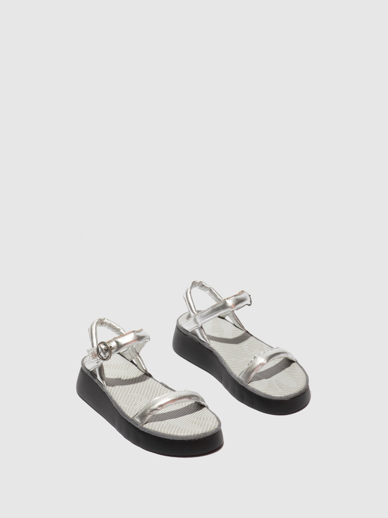 Fly London Strappy Sandals CETO315FLY IDRA SILVER