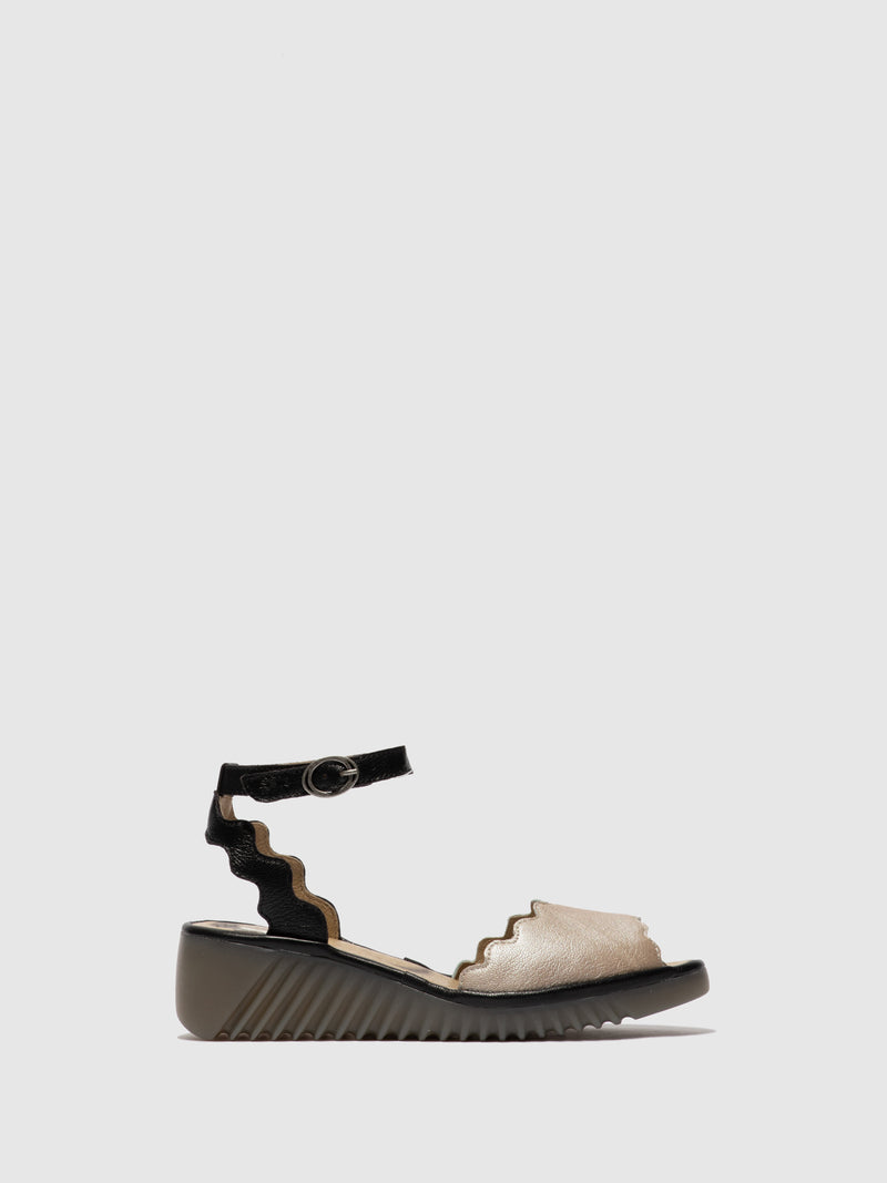 Fly London Ankle Strap Sandals LUME319FLY BORGOGNA/MOUSSE  SILVER/BLACK