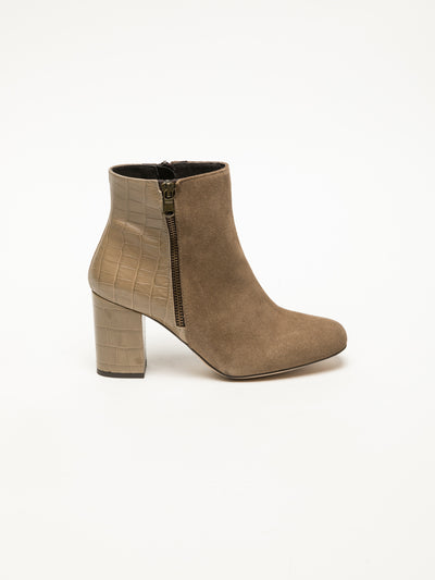 Foreva Tan Zip Up Ankle Boots