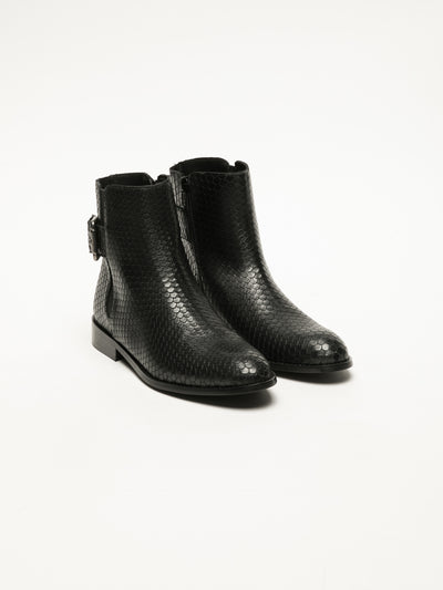 Foreva Black Buckle Ankle Boots