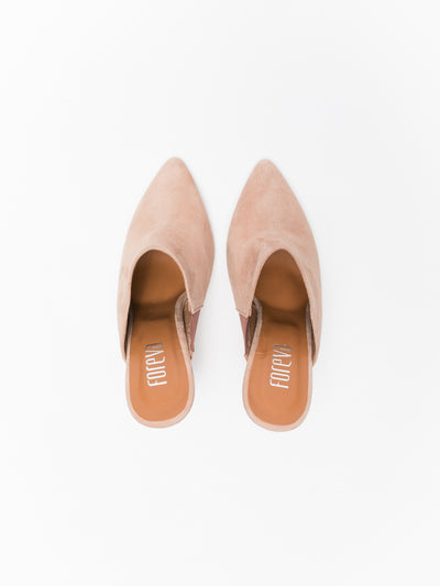 Foreva Pink Pointed Toe Mules