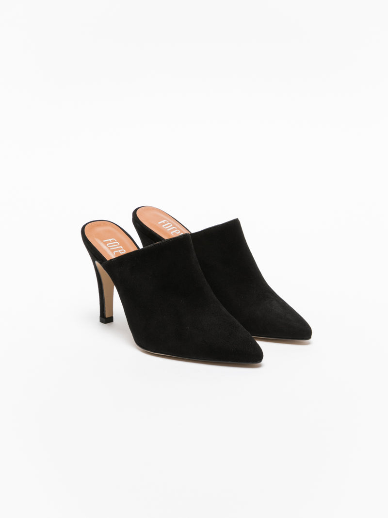 Black Pointed Toe Mules