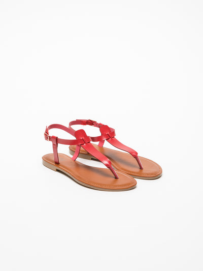Foreva Red T-Strap Sandals